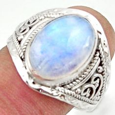 6.77cts natural rainbow moonstone 925 sterling silver ring jewelry size 9 r42820