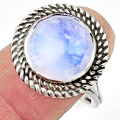 6.81cts natural rainbow moonstone 925 sterling silver ring jewelry size 9 r44927