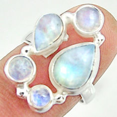 7.24cts natural rainbow moonstone 925 sterling silver ring size 6.5 r22222