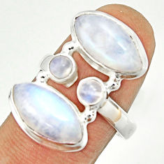 12.31cts natural rainbow moonstone 925 sterling silver ring size 7.5 r22231