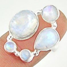 8.65cts natural rainbow moonstone 925 sterling silver ring size 6.5 r22233