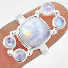 7.51cts natural rainbow moonstone 925 sterling silver ring size 6.5 r22249