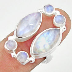 13.79cts natural rainbow moonstone 925 sterling silver ring size 7.5 r22254
