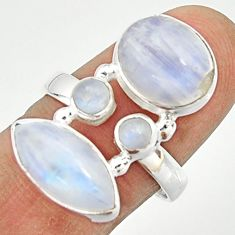 12.64cts natural rainbow moonstone 925 sterling silver ring size 7.5 r22259