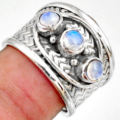1.81cts natural rainbow moonstone 925 sterling silver ring size 7.5 r38035