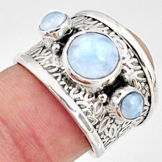 3.98cts natural rainbow moonstone 925 sterling silver ring size 6.5 r38399