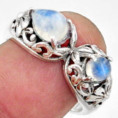 2.33cts natural rainbow moonstone 925 sterling silver ring size 7.5 r40898