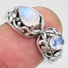 2.31cts natural rainbow moonstone 925 sterling silver ring size 6.5 r40900