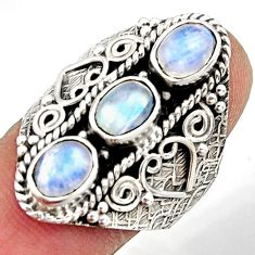 4.67cts natural rainbow moonstone 925 sterling silver ring size 8.5 r42478