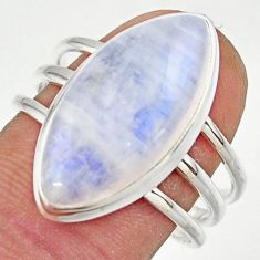 13.00cts natural rainbow moonstone 925 sterling silver ring size 8.5 r42724