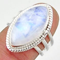 13.38cts natural rainbow moonstone 925 sterling silver ring size 6.5 r42732
