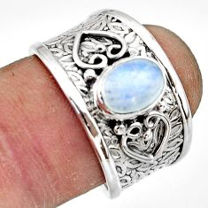 1.94cts natural rainbow moonstone 925 sterling silver ring size 7.5 r44274