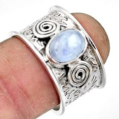 2.10cts natural rainbow moonstone 925 sterling silver ring size 7.5 r44275