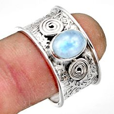 1.85cts natural rainbow moonstone 925 sterling silver ring size 8.5 r44276