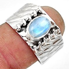 2.21cts natural rainbow moonstone 925 sterling silver ring size 8.5 r44279