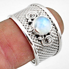 1.22cts natural rainbow moonstone 925 sterling silver ring size 7.5 r44312