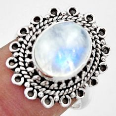 5.09cts natural rainbow moonstone 925 sterling silver ring size 6.5 r44316