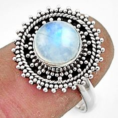 3.05cts natural rainbow moonstone 925 sterling silver ring size 7.5 r44319