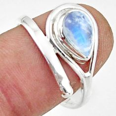 2.77cts natural rainbow moonstone 925 sterling silver ring size 8.5 r44876