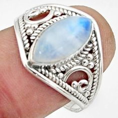 4.93cts natural rainbow moonstone 925 sterling silver ring size 8.5 r44877