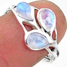 3.11cts natural rainbow moonstone 925 sterling silver ring size 8.5 r45732
