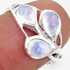 3.03cts natural rainbow moonstone 925 sterling silver ring size 6.5 r45733