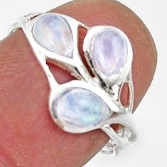 2.93cts natural rainbow moonstone 925 sterling silver ring size 6.5 r45734