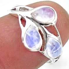 3.19cts natural rainbow moonstone 925 sterling silver ring size 6.5 r45735