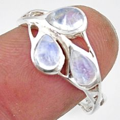 2.90cts natural rainbow moonstone 925 sterling silver ring size 8.5 r45736