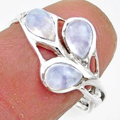 3.00cts natural rainbow moonstone 925 sterling silver ring size 7.5 r45737