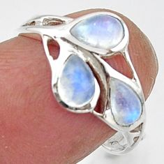 2.83cts natural rainbow moonstone 925 sterling silver ring size 7.5 r45738