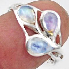 3.02cts natural rainbow moonstone 925 sterling silver ring size 7.5 r45739