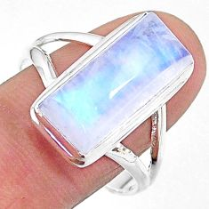 8.14cts natural rainbow moonstone 925 sterling silver ring size 11 t18138
