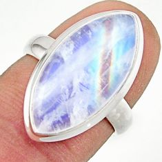13.40cts natural rainbow moonstone 925 sterling silver ring size 6 r42703