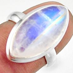 13.84cts natural rainbow moonstone 925 sterling silver ring size 6 r42720