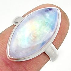 13.18cts natural rainbow moonstone 925 sterling silver ring size 6 r42738