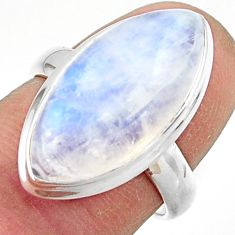 13.01cts natural rainbow moonstone 925 sterling silver ring size 7 r42716