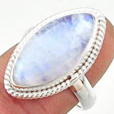 13.49cts natural rainbow moonstone 925 sterling silver ring size 7 r42734