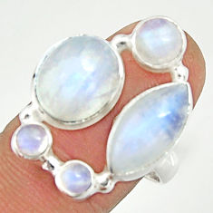 13.07cts natural rainbow moonstone 925 sterling silver ring size 8 r22236