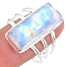 14.45cts natural rainbow moonstone 925 sterling silver ring size 11.5 t18121