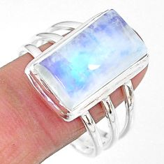 10.44cts natural rainbow moonstone 925 sterling silver ring size 11.5 t18135