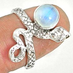 2.44cts natural rainbow moonstone 925 sterling silver snake ring size 6.5 r78616