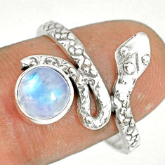 2.39cts natural rainbow moonstone 925 sterling silver snake ring size 8.5 r78638