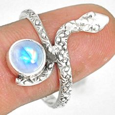 2.43cts natural rainbow moonstone 925 sterling silver snake ring size 9.5 r78656