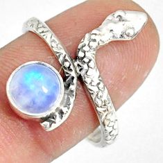 2.78cts natural rainbow moonstone 925 sterling silver snake ring size 9.5 r78679