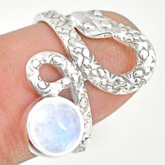 2.57cts natural rainbow moonstone 925 sterling silver snake ring size 6.5 r82577