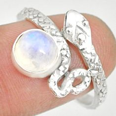 2.55cts natural rainbow moonstone 925 sterling silver snake ring size 9.5 r82578