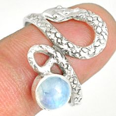 2.41cts natural rainbow moonstone 925 sterling silver snake ring size 9.5 r82593
