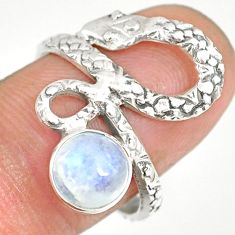 2.67cts natural rainbow moonstone 925 sterling silver snake ring size 7.5 r82595