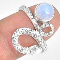 2.68cts natural rainbow moonstone 925 sterling silver snake ring size 8.5 r82600